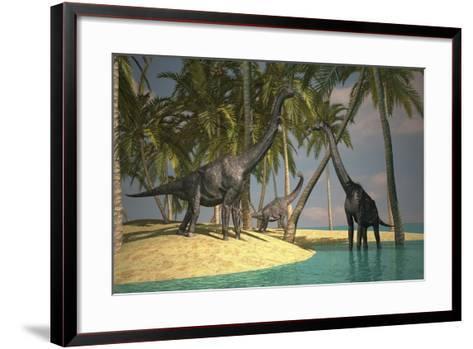 Brachiosaurus Dinosaurs Grazing at the Water's Edge--Framed Art Print