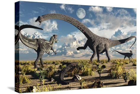 A Deadly Confrontation Between a Diplodocus and a Pair of Allosaurus--Stretched Canvas Print