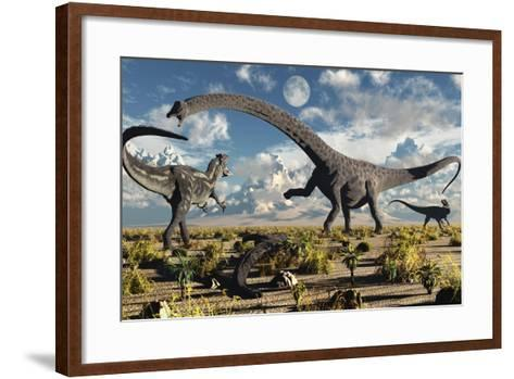 A Deadly Confrontation Between a Diplodocus and a Pair of Allosaurus--Framed Art Print