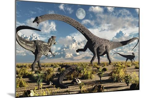A Deadly Confrontation Between a Diplodocus and a Pair of Allosaurus--Mounted Art Print