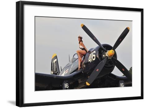 1940's Style Navy Pin-Up Girl Sitting on a Vintage Corsair Fighter Plane--Framed Art Print