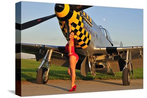 Sexy 1940's Style Pin-Up Girl Posing with a P-51 Mustang--Stretched Canvas Print