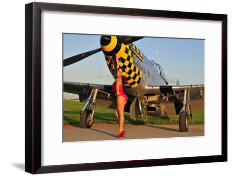 Sexy 1940's Style Pin-Up Girl Posing with a P-51 Mustang--Framed Art Print