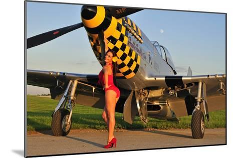 Sexy 1940's Style Pin-Up Girl Posing with a P-51 Mustang--Mounted Photographic Print