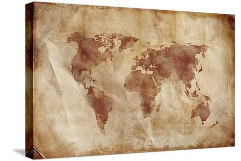 Aged World Map on Dirty Paper--Stretched Canvas Print