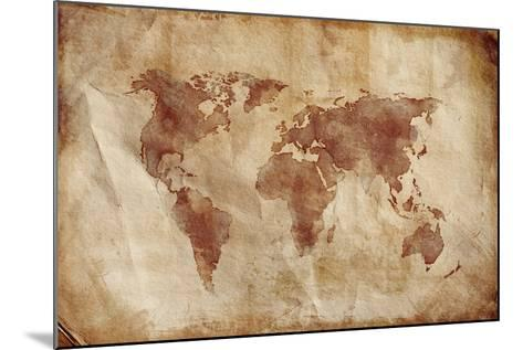 Aged World Map on Dirty Paper--Mounted Art Print