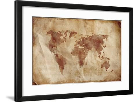 Aged World Map on Dirty Paper--Framed Art Print