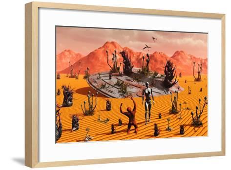 The First Man, Adam, Greeting an Alien Robotic Eve--Framed Art Print