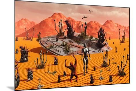 The First Man, Adam, Greeting an Alien Robotic Eve--Mounted Art Print
