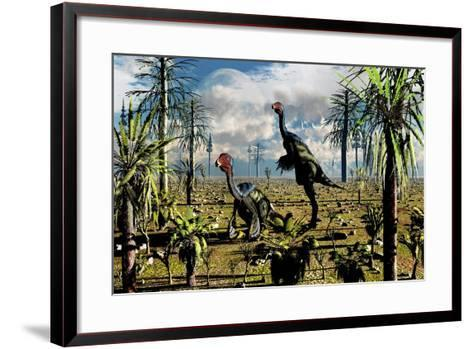 A Pair of Omnivorous Caudipteryx Feathered Dinosaurs--Framed Art Print