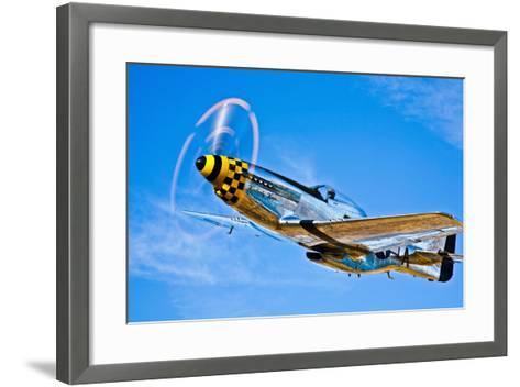 A North American P-51D Mustang in Flight Near Chino, California--Framed Art Print
