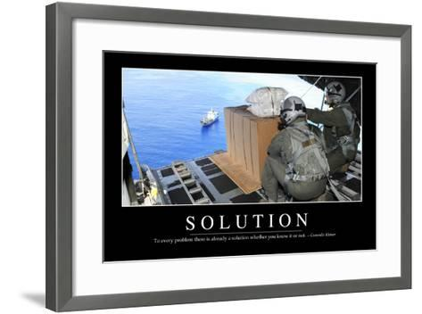 Solution: Inspirational Quote and Motivational Poster--Framed Art Print