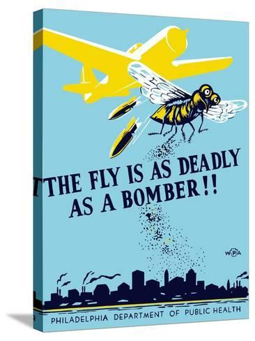 Wpa Propaganda Poster of a Bomber Plane and a Fly Dropping Germs--Stretched Canvas Print