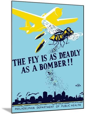Wpa Propaganda Poster of a Bomber Plane and a Fly Dropping Germs--Mounted Art Print