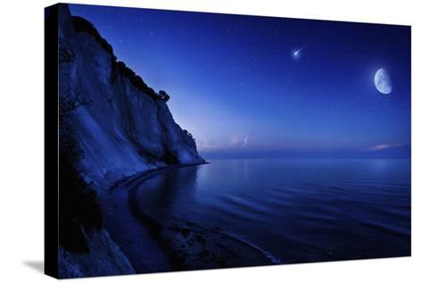 Moon Rising over Tranquil Sea and Mons Klint Cliffs, Denmark--Stretched Canvas Print