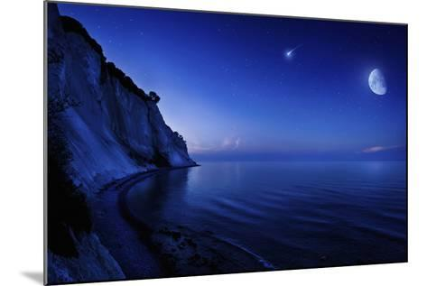 Moon Rising over Tranquil Sea and Mons Klint Cliffs, Denmark--Mounted Photographic Print