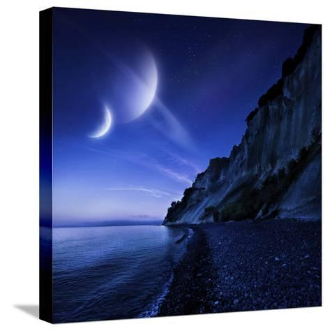 Two Planets Hover over a Tranquil Sea and Mons Klint Cliffs, Denmark--Stretched Canvas Print