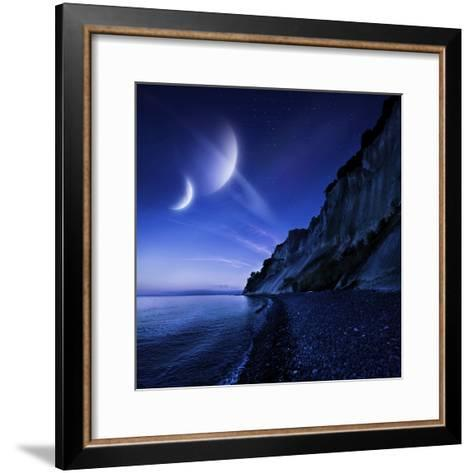 Two Planets Hover over a Tranquil Sea and Mons Klint Cliffs, Denmark--Framed Art Print