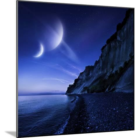 Two Planets Hover over a Tranquil Sea and Mons Klint Cliffs, Denmark--Mounted Photographic Print