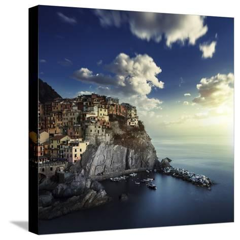 View of Manarola on the Rocks at Sunset, La Spezia, Liguria, Northern Italy--Stretched Canvas Print