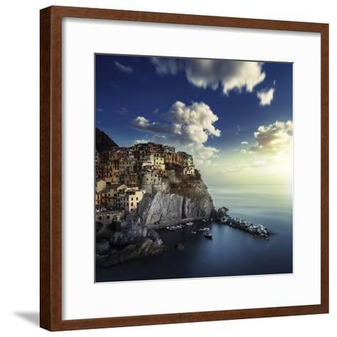View of Manarola on the Rocks at Sunset, La Spezia, Liguria, Northern Italy--Framed Art Print