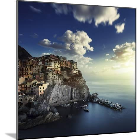 View of Manarola on the Rocks at Sunset, La Spezia, Liguria, Northern Italy--Mounted Photographic Print
