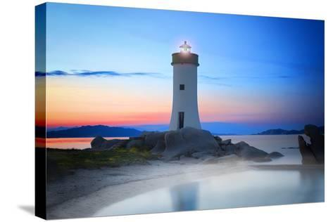 Palau Lighthouse-Marco Carmassi-Stretched Canvas Print