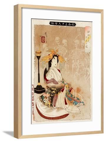 Jigoku Dayu - Courtesan from Hell, Thirty-Six Transformations-Yoshitoshi Tsukioka-Framed Art Print