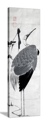 A Cranes Sumi on Paper 1-Jakuchu Ito-Stretched Canvas Print