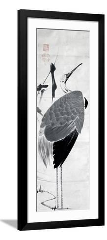 A Cranes Sumi on Paper 1-Jakuchu Ito-Framed Art Print