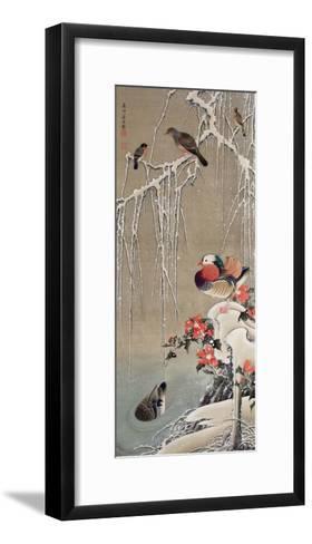 Mandarin Duck in the Snow 1-Jakuchu Ito-Framed Art Print
