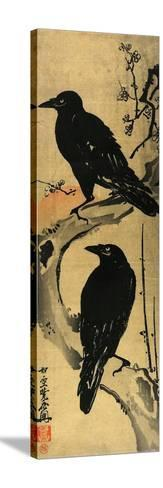 Two Crows on a Plum Branch with Rising Sun-Kyosai Kawanabe-Stretched Canvas Print