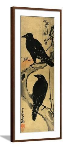 Two Crows on a Plum Branch with Rising Sun-Kyosai Kawanabe-Framed Art Print