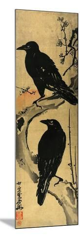 Two Crows on a Plum Branch with Rising Sun-Kyosai Kawanabe-Mounted Giclee Print