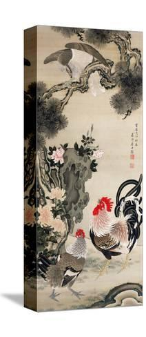 Rooster, Hen and a Falcon-Jakuchu Ito-Stretched Canvas Print