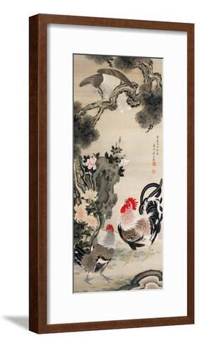Rooster, Hen and a Falcon-Jakuchu Ito-Framed Art Print