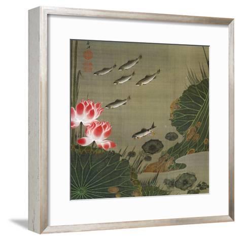 A Shoal of Trout and Lotus-Jakuchu Ito-Framed Art Print