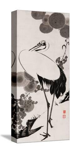 A Cranes Sumi on Paper 2-Jakuchu Ito-Stretched Canvas Print