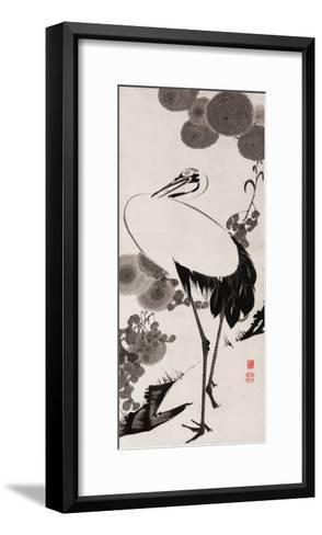A Cranes Sumi on Paper 2-Jakuchu Ito-Framed Art Print