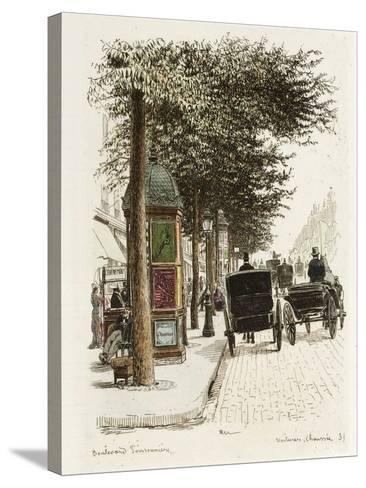 Boulevard Poissonnière: Voitures, Chaussées-Adolphe Martial-Potémont-Stretched Canvas Print