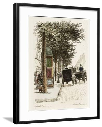 Boulevard Poissonnière: Voitures, Chaussées-Adolphe Martial-Potémont-Framed Art Print