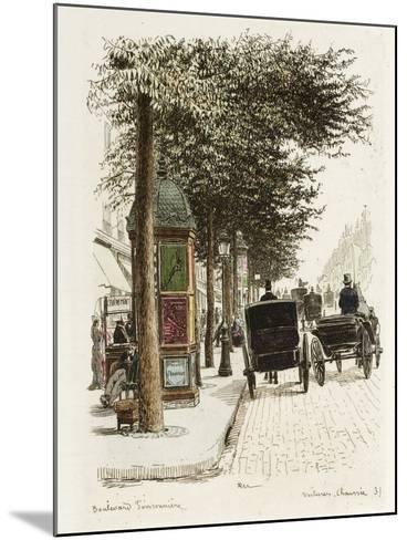 Boulevard Poissonnière: Voitures, Chaussées-Adolphe Martial-Potémont-Mounted Giclee Print