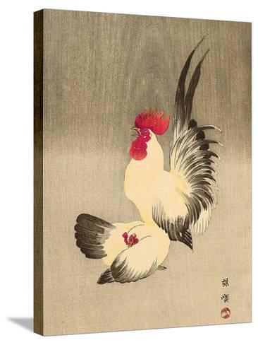 Rooster and Hen-Bairei Kono-Stretched Canvas Print