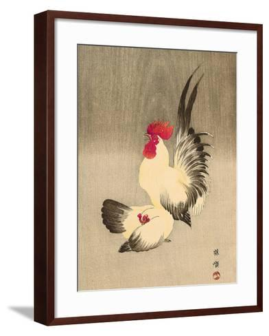 Rooster and Hen-Bairei Kono-Framed Art Print