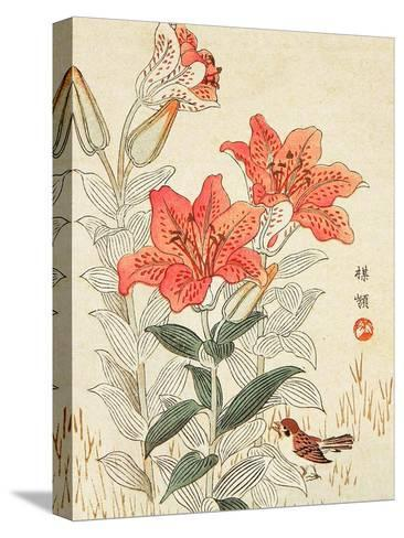 Sparrow and Tiger Lilies-Bairei Kono-Stretched Canvas Print