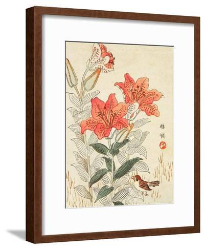 Sparrow and Tiger Lilies-Bairei Kono-Framed Art Print