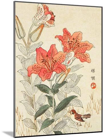 Sparrow and Tiger Lilies-Bairei Kono-Mounted Giclee Print