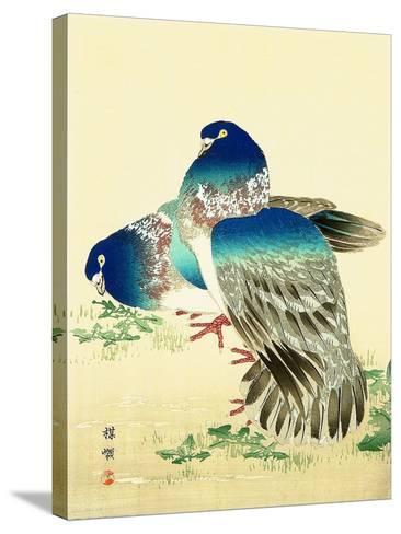 Blue Pigeons-Bairei Kono-Stretched Canvas Print
