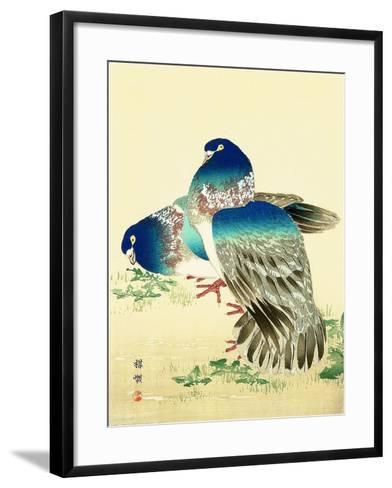 Blue Pigeons-Bairei Kono-Framed Art Print
