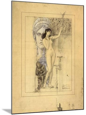 Preliminary Drawing for Allegory of Sculpture-Gustav Klimt-Mounted Giclee Print